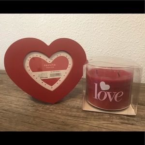 Valentine's Day Heart Picture Frame and Candle